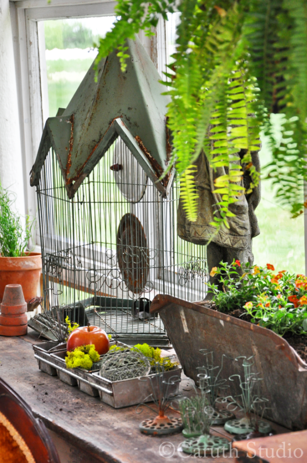 Vintage birdcage and flower frogs