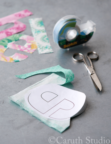 Making-letters-for-wall-decal-from-fabric-scraps
