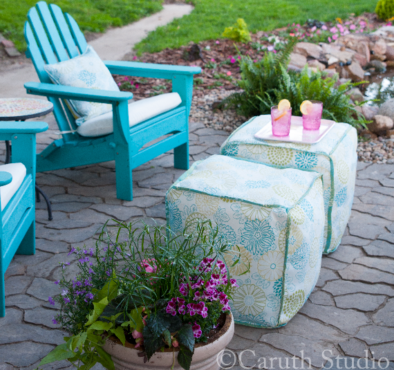 Chairs and poufs on patio