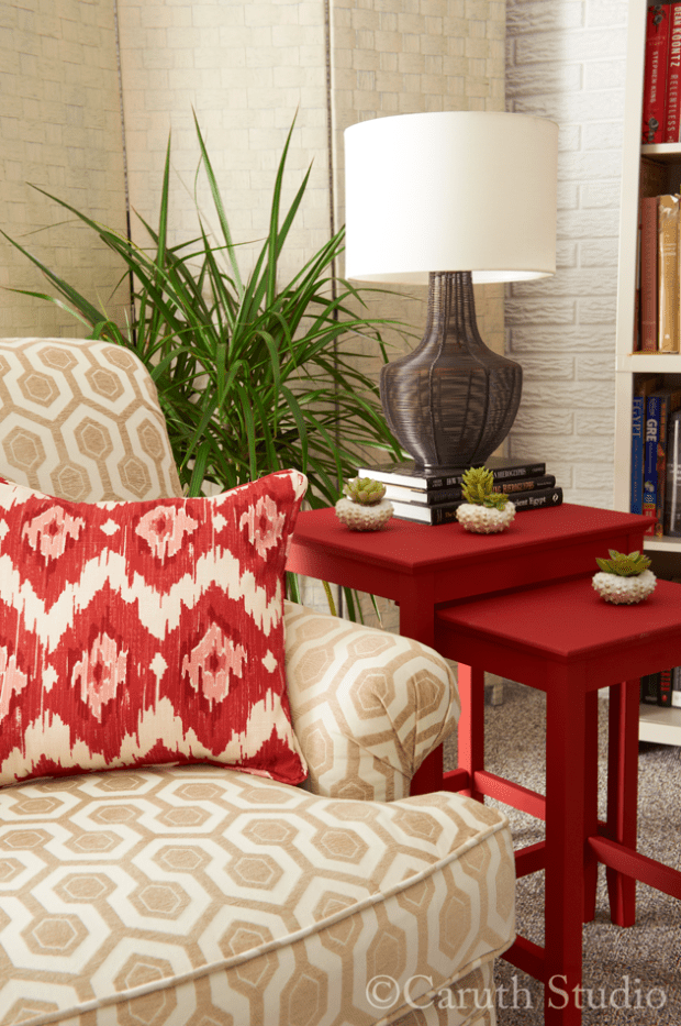 Vignette of chair and nesting tables