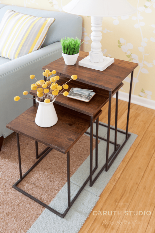Set of deep wood nesting tables