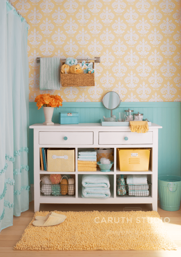 Bath cabinet in yellow blue white and orange