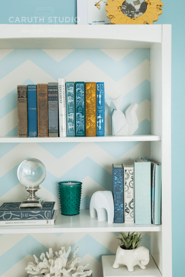 Patterned bookshelf