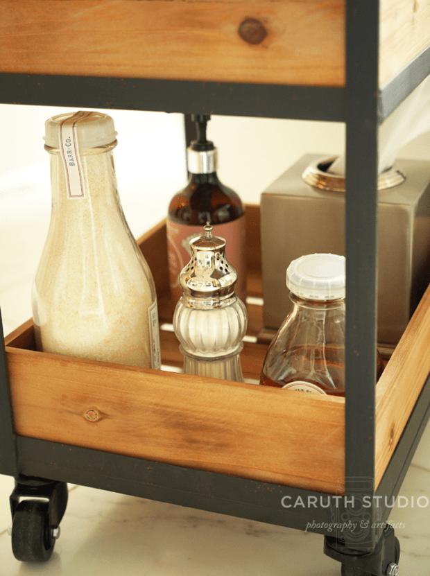 Tubside cart bottom shelf