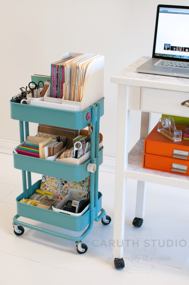 little blue Desk supply cart on wheels