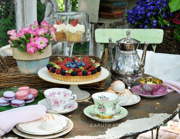 Afternoon tea on vintage bistro set