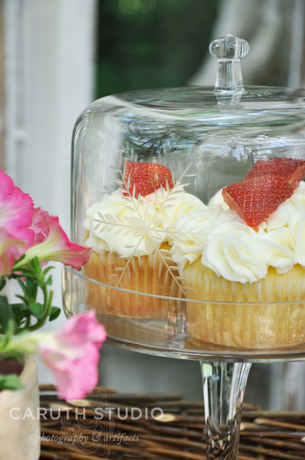 Cupcakes under glass