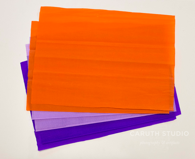 Cut equal pieces of crepe paper