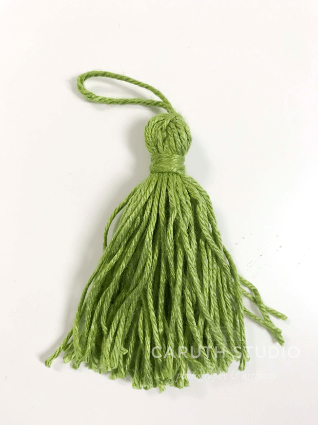 Finished green tassel