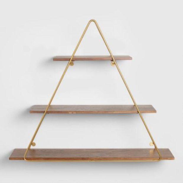 Wood And Gold Triangle Wall Shelf