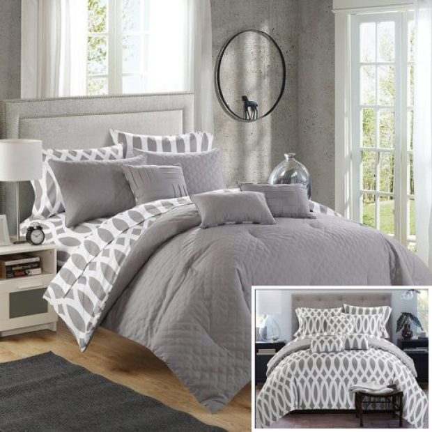 8 Piece Holland Diamond Quilted Embroidered With Contemporary REVERSIBLE printed backside