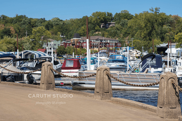 Stillwater Minnesota marina filled with sailboats