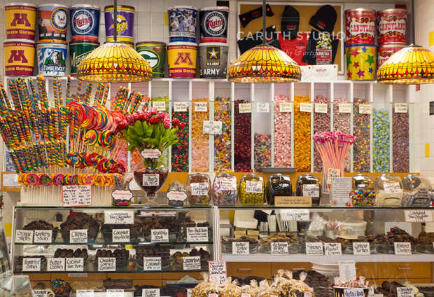 candy shop display of many many kinds of candy that can all be self-served