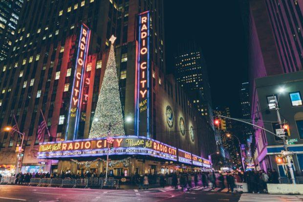 Radio City Music Hall lite at night