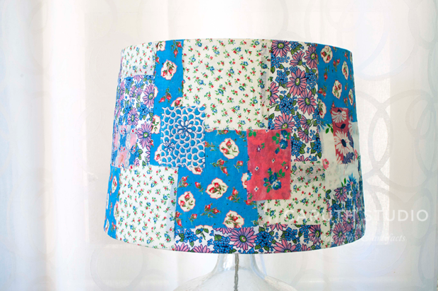 floral patchwork lampshade detail in blues, pink and creams