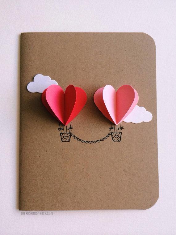 Couple Heart Hot Air Balloon card