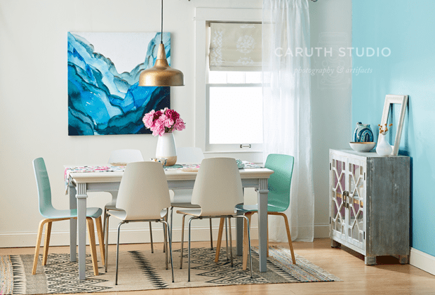 Dining room with color accents