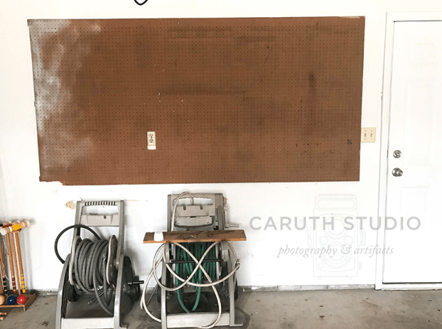 tool pegboard with tools removed