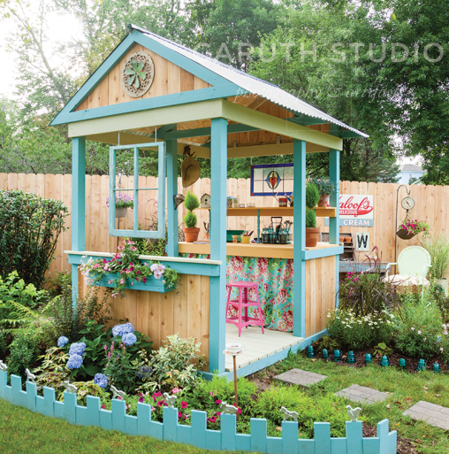 Open Potting Shed with cottage style landscaping