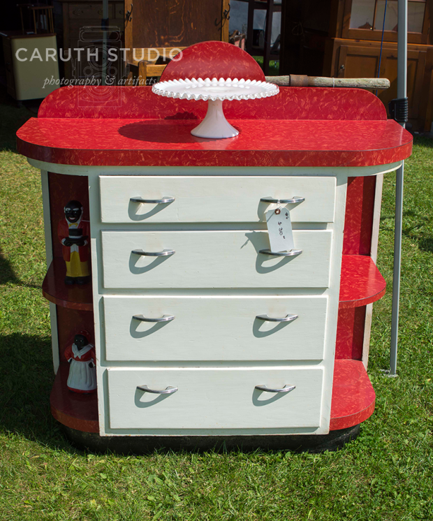 vintage midcentury red and white cabinet or bar