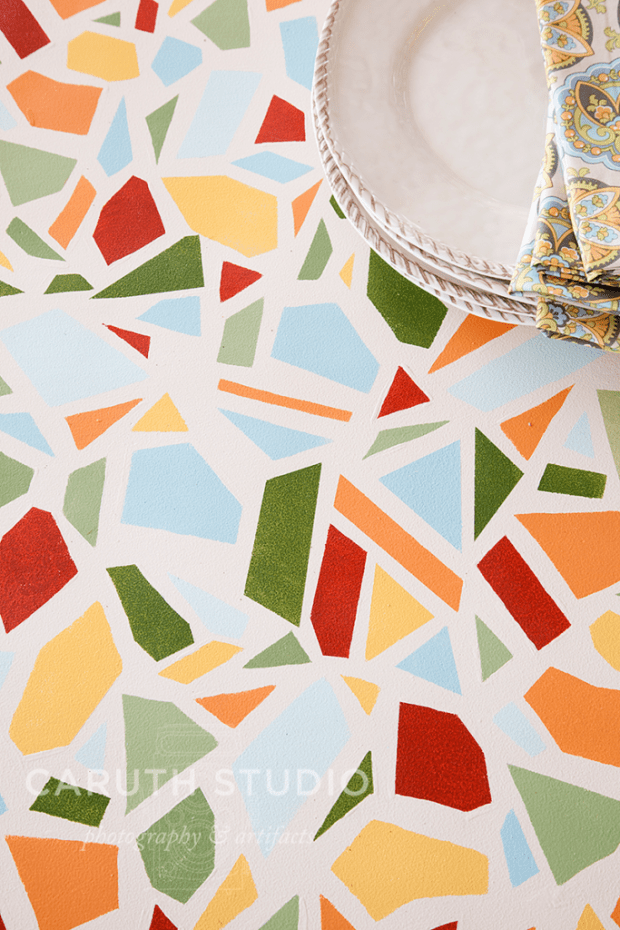 Painted mosaic tabletop