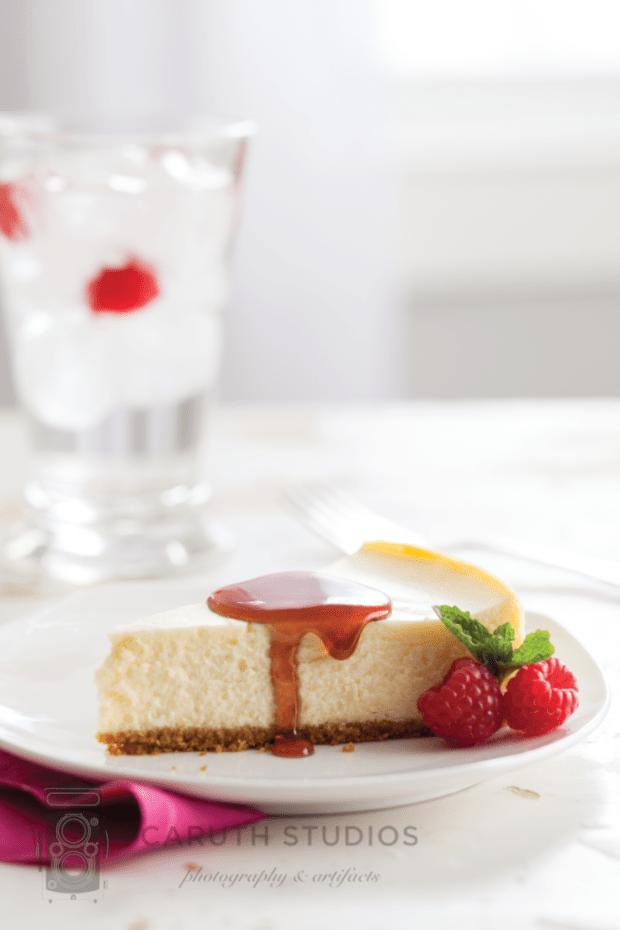 Jam Sauce on a slice of cheesecake