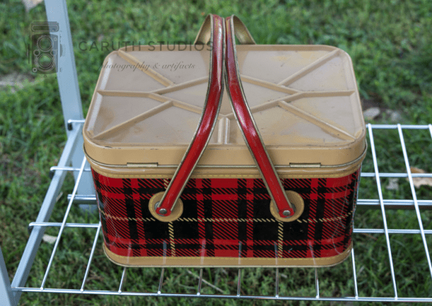 vintage tin picnic basket