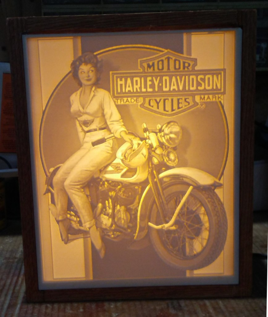 Carved Harley Davidson Ad Lithopane