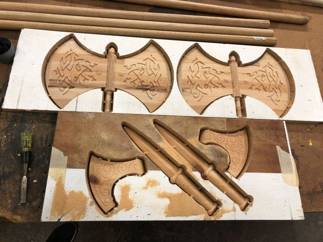 viking weapons carved