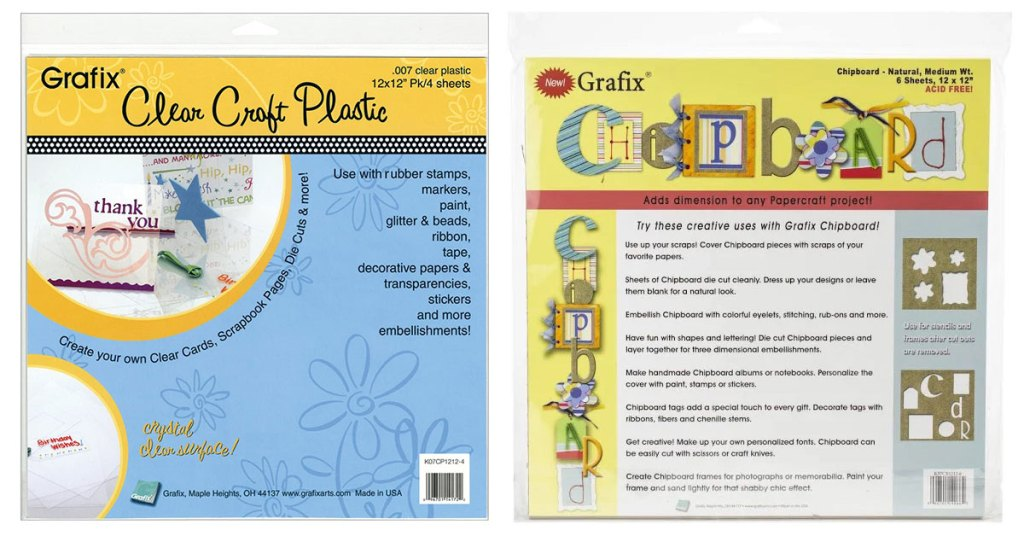 Grafix plastic and chipboard