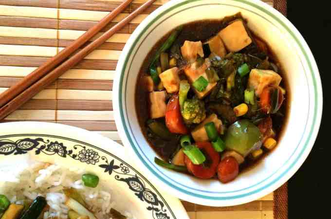 Stir Fry paneer & veggies in teriyaki sauce