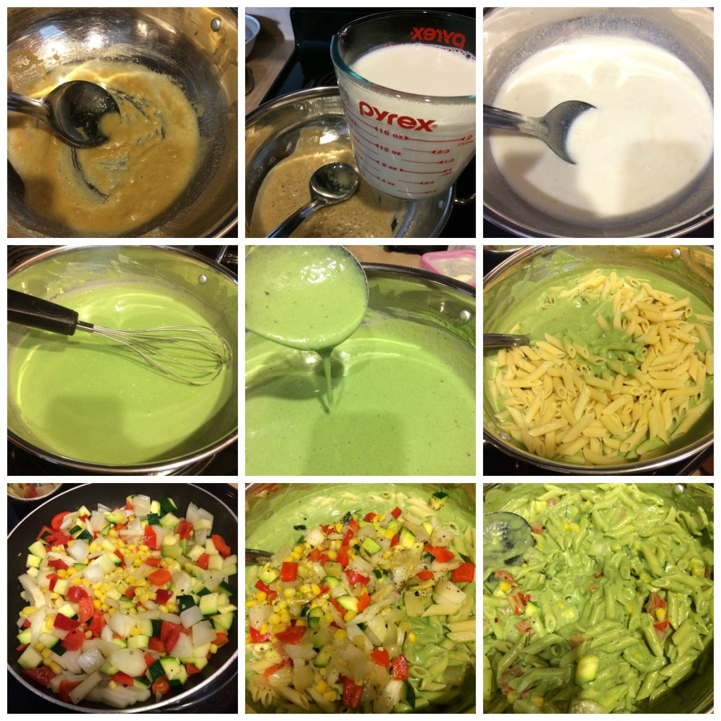 spinach cream pasta composition
