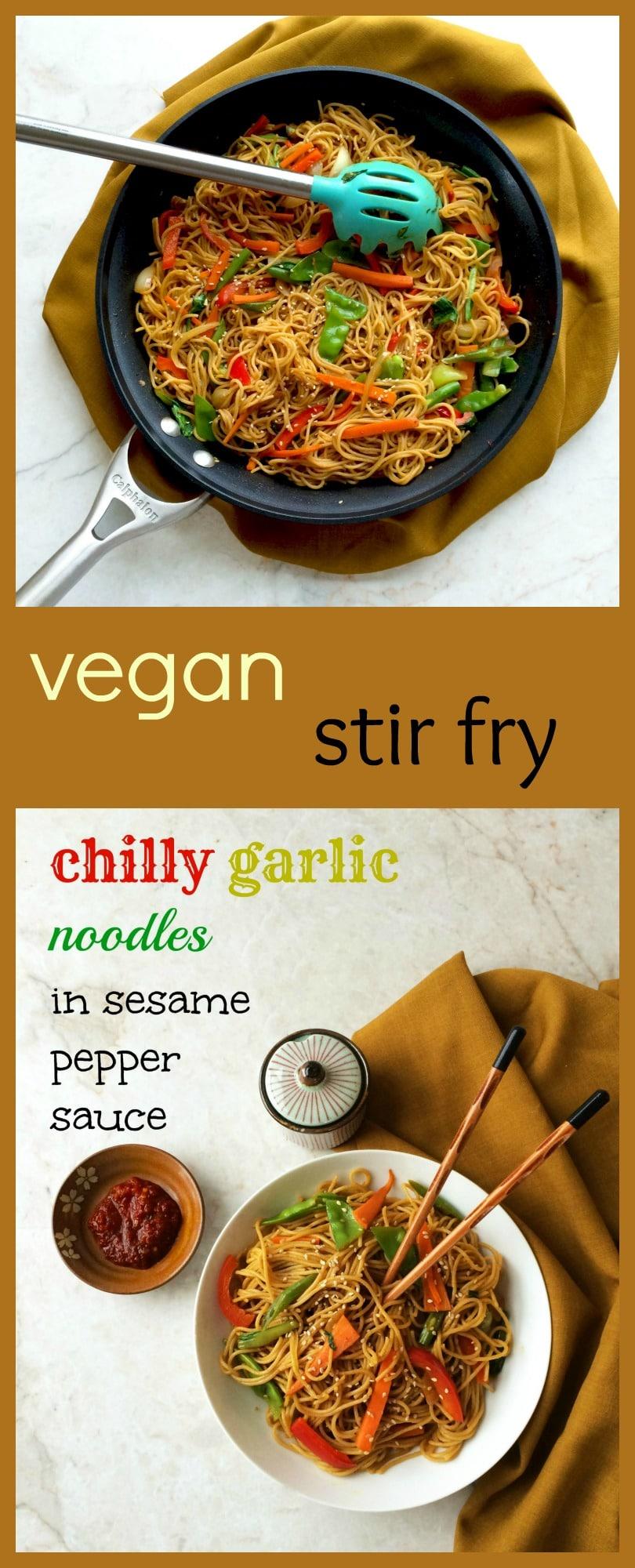 vegan stir fry noodles in sesame pepper sauce