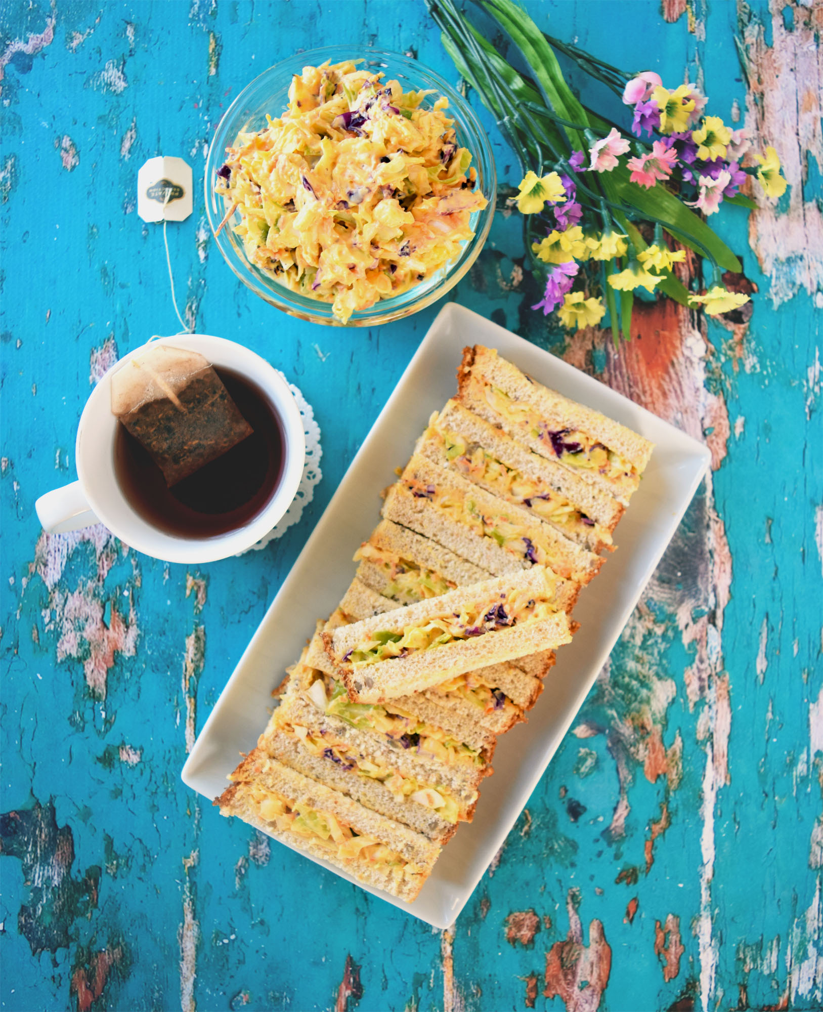 easy vegan coleslaw sandwich bars - perfect party snack