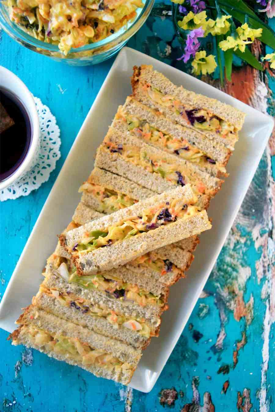 easy veg coleslaw sandwich bars