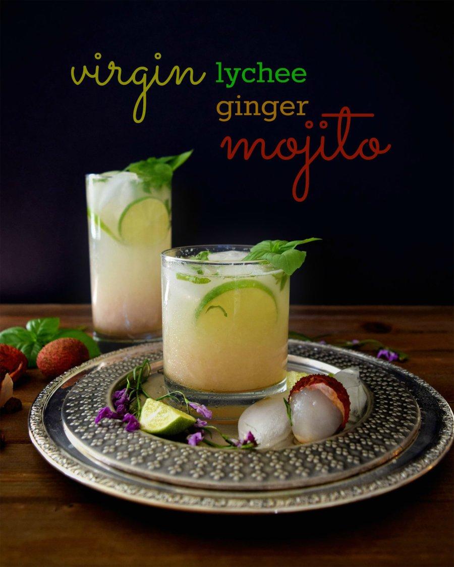 Virgin lychee ginger mojito