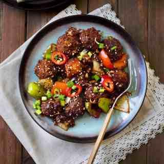 No fry vegan mushroom manchurian - indo chinese