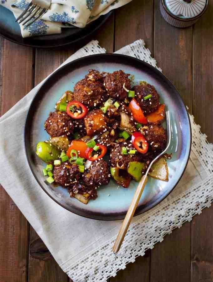 No fry vegan mushroom manchurian – indo chinese