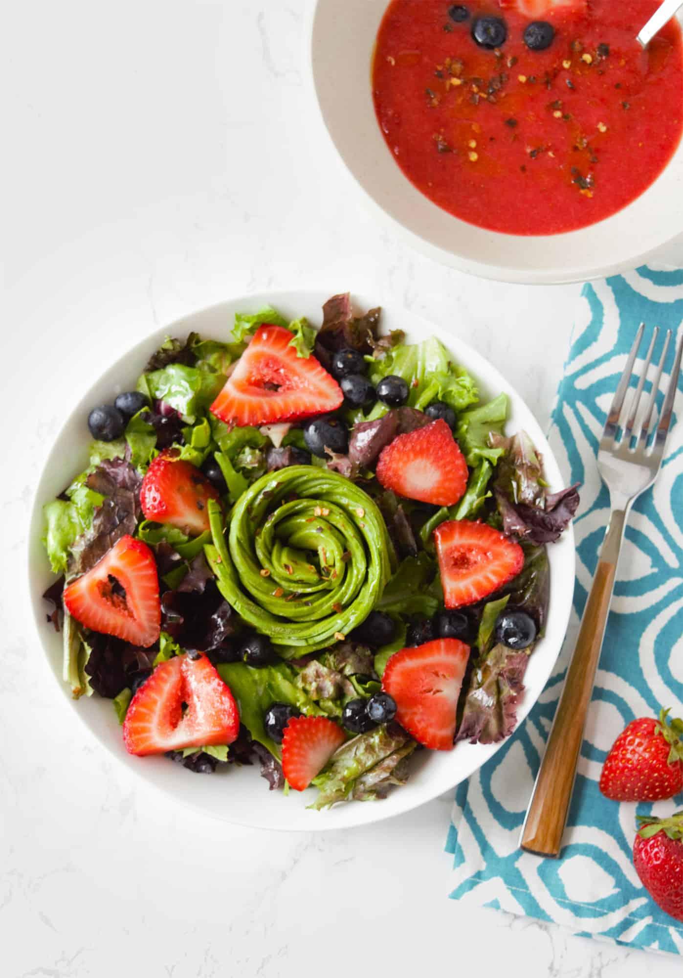 Vegan summer berry salad with strawberry balsamic vinaigrette