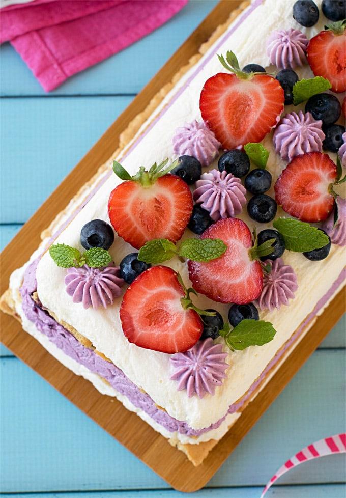 No-bake-mixed-berries-icebox-cheesecake-#strawberries