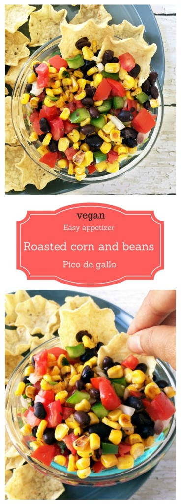 Vegan roasted corn and beans pico de gallo #mexican #appetizer #partysnack