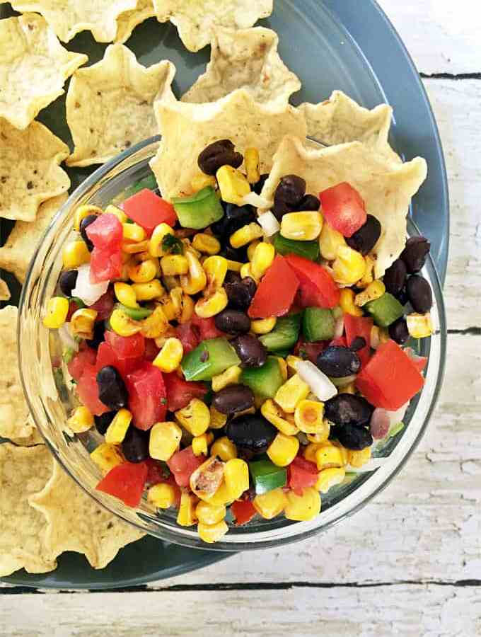 Vegan roasted corn and beans pico de gallo