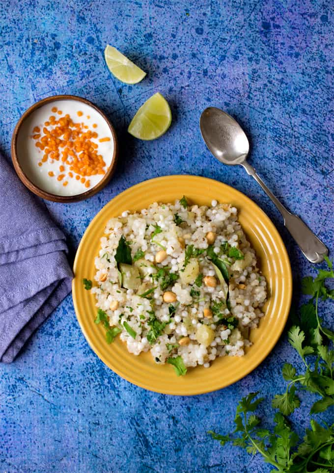 How to make perfect non-sticky Sabudana Khichdi / tapioca pearls pilaf , vrat khichdi