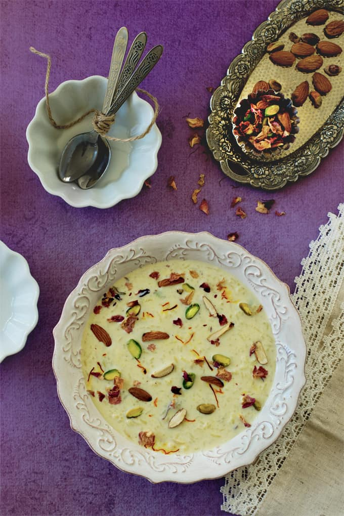 Saffron rice kheer - Indian rice pudding - one pot dessert