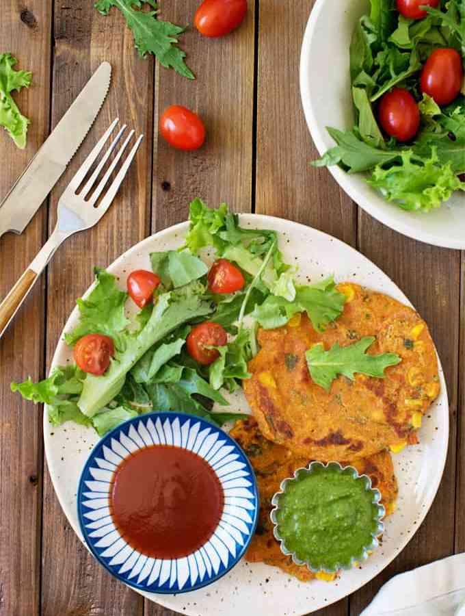 Vegan oats chickpea veggie pancakes | indian pudla | besan oats cheela