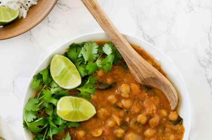 Instant Pot chickpeas curry spinach chana masala – vegan & gluten-free