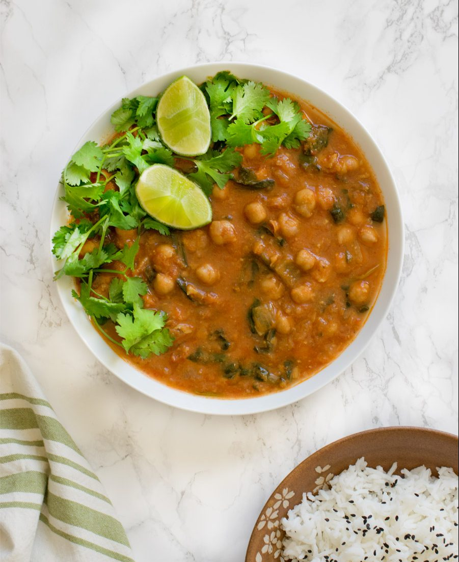 Instant Pot chickpea curry spinach chana masala
