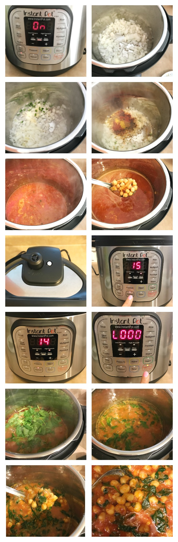 Instant Pot chickpeas curry spinach chana masala