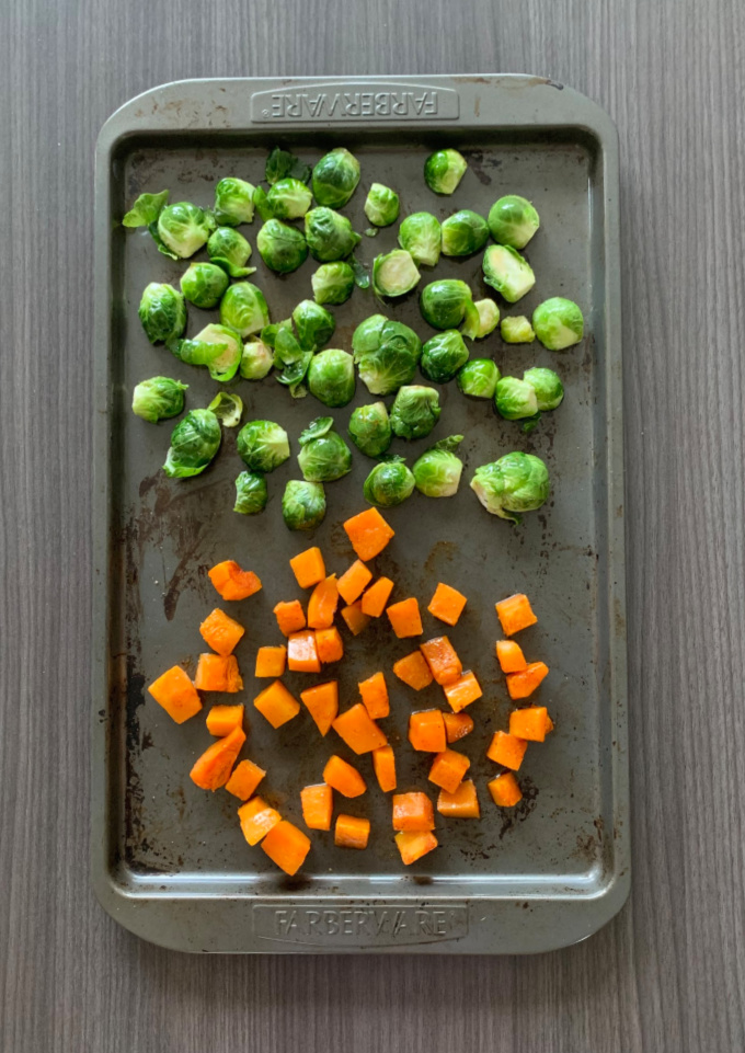 Roating vegetables in an oven