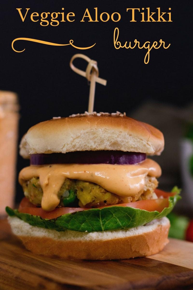 Veggie Aloo Tikki burger #vegan